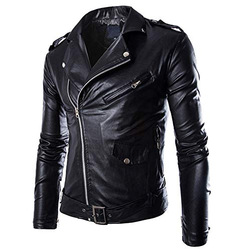 Men Leather Coat,Vintage Zipper Autumn Winter Casual Moto Bomber Faux Leather Biker Jackets Coat Tops Black