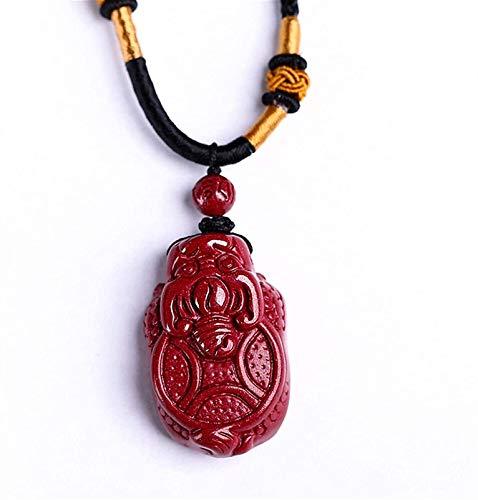 XIAOGING Feng Shui Collar Cinnabar Colgante Colgante con Dragon Tortuga Colgante Lucky Charms Talisman para Protección Regalo de Joyería para Hombres Y Mujeres Tracto Buena Suerte Dinero