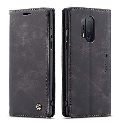 mvced Handyhülle Kompatibel mit OnePlus 8 Pro,Premium Leder Flip Hülle Schutzhülle mit Standfunktion,Schwarz