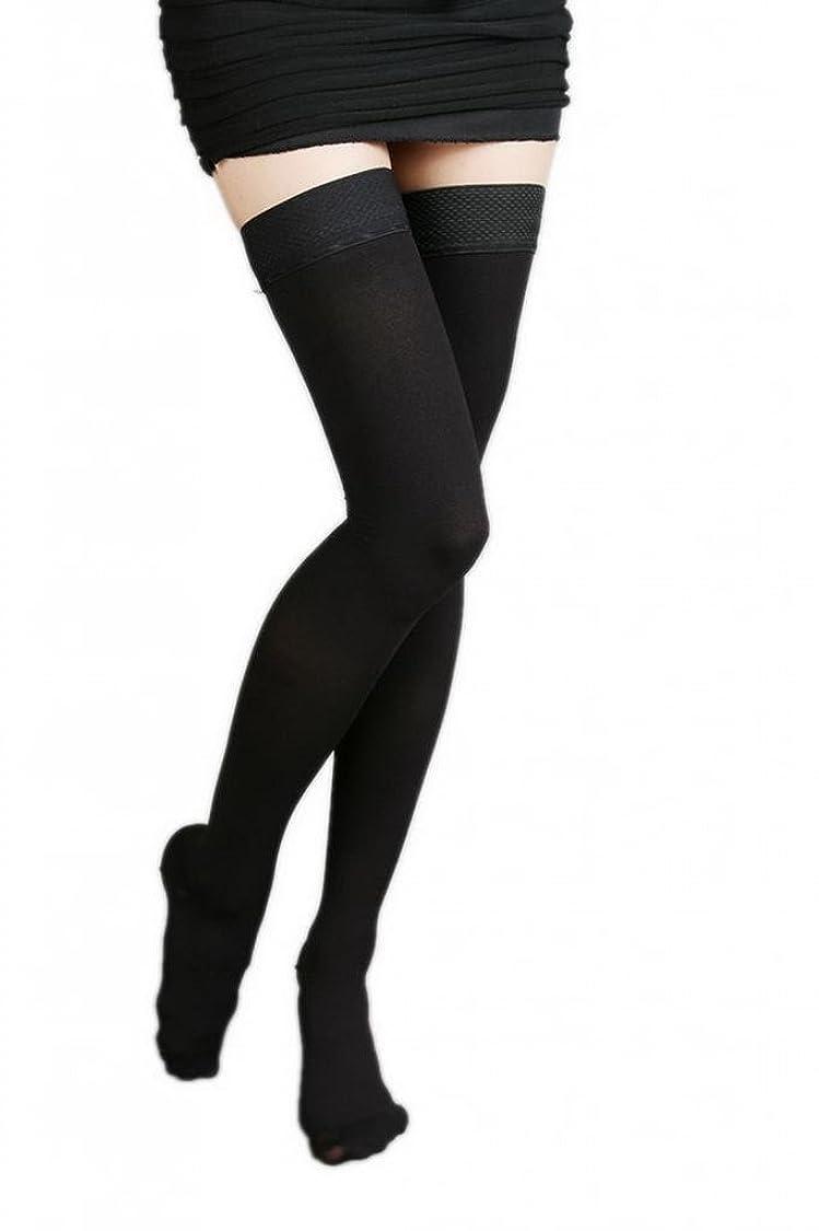 杭謝罪補体(ラボーグ)La Vogue 美脚 着圧オーバーニーソックス ハイソックス 靴下 弾性ストッキング つま先あり着圧ソックス L 2級中圧 黒色