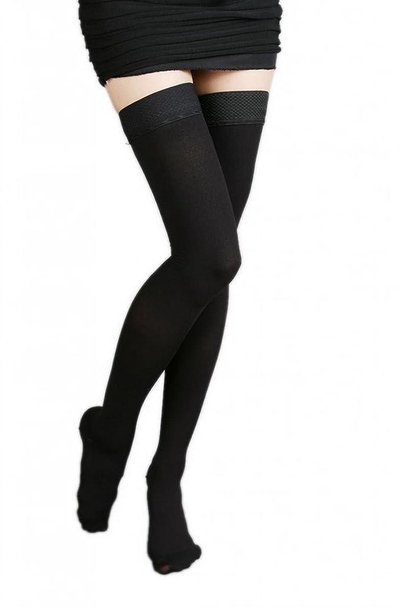 属性好意有効(ラボーグ)La Vogue 美脚 着圧オーバーニーソックス ハイソックス 靴下 弾性ストッキング つま先あり着圧ソックス XL 1級低圧 黒色