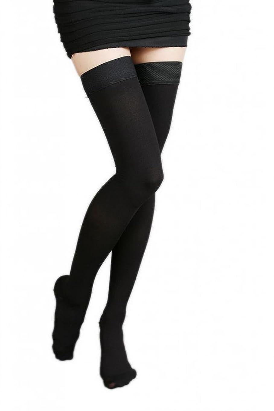 異常ランク疫病(ラボーグ)La Vogue 美脚 着圧オーバーニーソックス ハイソックス 靴下 弾性ストッキング つま先あり着圧ソックス XL 1級低圧 黒色