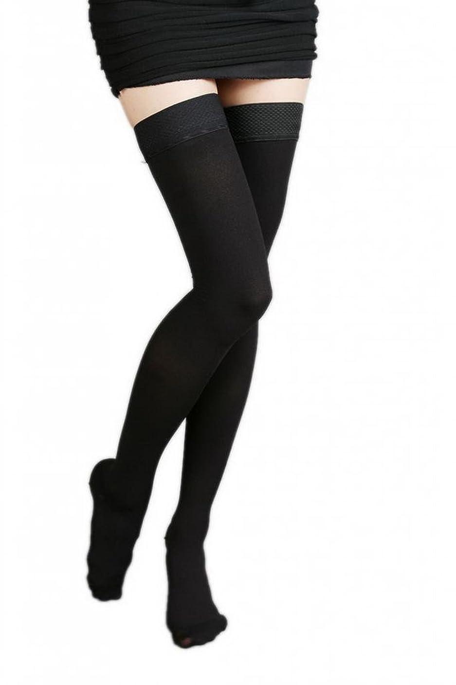 メイドに対応主張(ラボーグ)La Vogue 美脚 着圧オーバーニーソックス ハイソックス 靴下 弾性ストッキング つま先あり着圧ソックス M 1級低圧 黒色