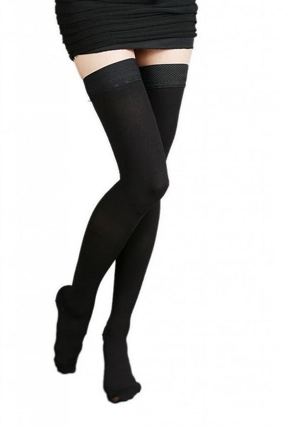 どこでも同封する護衛(ラボーグ)La Vogue 美脚 着圧オーバーニーソックス ハイソックス 靴下 弾性ストッキング つま先あり着圧ソックス XL 2級中圧 黒色
