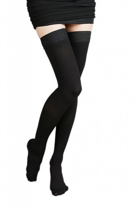 月しばしば知る(ラボーグ)La Vogue 美脚 着圧オーバーニーソックス ハイソックス 靴下 弾性ストッキング つま先あり着圧ソックス M 3級強圧 黒色