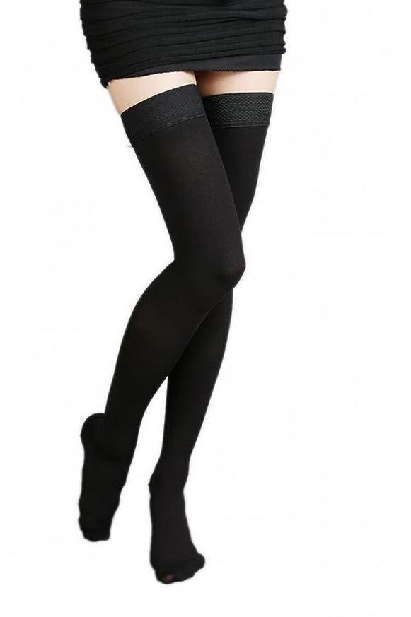 相関する借りる平衡(ラボーグ)La Vogue 美脚 着圧オーバーニーソックス ハイソックス 靴下 弾性ストッキング つま先あり着圧ソックス L 2級中圧 黒色