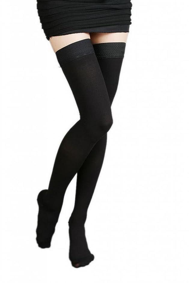 子孫信仰法律により(ラボーグ)La Vogue 美脚 着圧オーバーニーソックス ハイソックス 靴下 弾性ストッキング つま先あり着圧ソックス XL 1級低圧 黒色