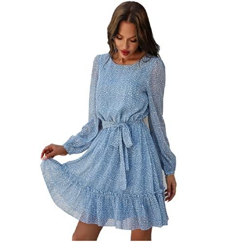Aoloni Sommerkleid Damen, Lässig Chiffon V Ausschnitt Kleider Damen, Langarm Kurzes Kleid Damen Mit Gürtel, Verspielte Blau Polka Dot Vintage...