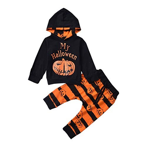 Toddler Infant Baby Halloween Hoodie Pumpkin Print Long Sleeve Sweatshirt Tops+Stripe Pants 2Pcs Outfits Set (Black +Pumpkin, 18-24 Months)