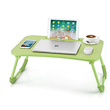 Nnewvante Lap Desk Bed Table Tray for Eating Writing Foldable Desk with iPad Slots for Adults/Students/Kids Green