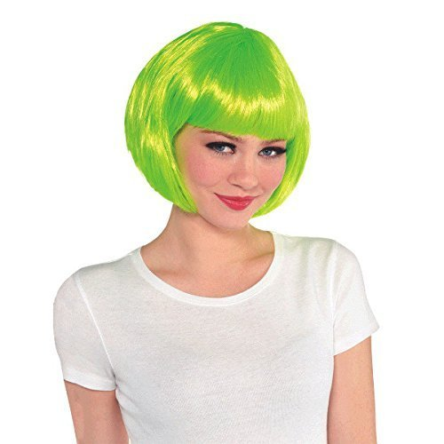 Amscan Bob Style Wig Costume Accessories, Neon Green, One Size Party Hats