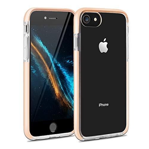 iPhone 7 Plus Case iPhone 8 Plus Case iPhone 6 Plus Case iPhone 6sPlus Case, Crystal Clear Anti-Scratch Anti-Slippery Transparent Shockproof Cover Bumper Protective Case (Pink)