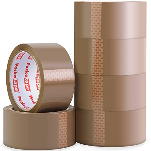 Packatape   Paketklebeband braun   66m lang & 48mm breit   Ideal als Klebeband, Paketband, Verpackungsmaterial & Packband   6 Rollen