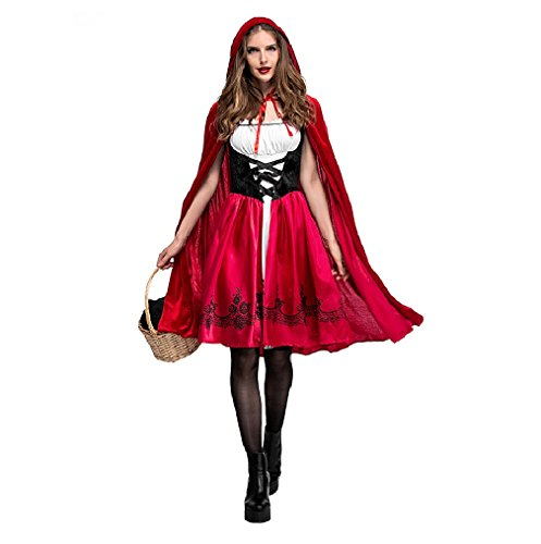 Cysudo Women's Little Red Riding Hood Cosplay Costume Make Up Party Dress (Small)