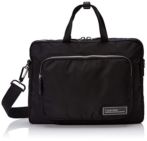 Calvin Klein Herren Primary Slim Laptop Bag Schultertasche, Schwarz (BLACK), 28x38x7cm