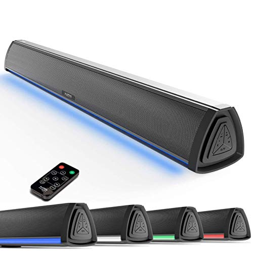 Soundbar, TV Sound Bar 2.0 Channel, RGB LED Display Wireless Soundbar Bluetooth 5.0 Stereo Speakers 20W w/Air Tube, Remote Control 3 Equalizer, Connects to Bluetooth, AUX, USB, DC for TV PC Gaming