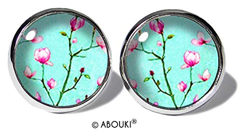 Magnolie Türkis Ohrstecker ABOUKI Damen Mädchen Kind Kinder Edelstahl Ohrschmuck Motiv Magnolien-Zweig Baum Blüte handgefertigte Ohrringe silber-farben