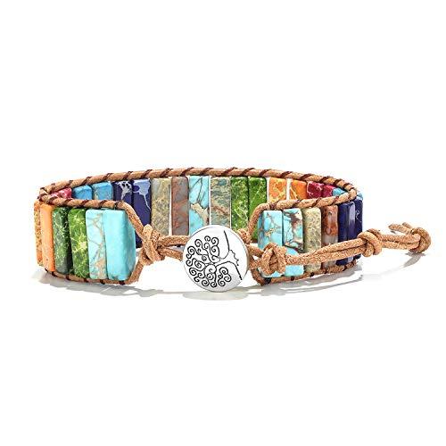 7 Chakra Bracelet Weave Bracelets Friendship Gemstone Bracelets Healing Bracelets for Women Fashion Boho Bracelets Jewelry Yoga Bracelets Multicolor Bracelets Wrap Bracelet with Tree Of Life Button