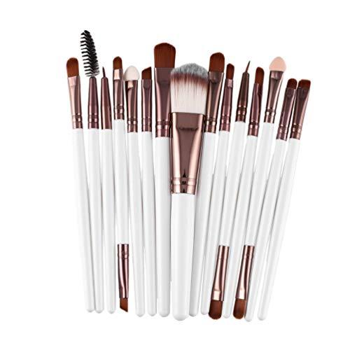 15 Pcs/Kit Pinceaux de Maquillage Ensemble Cils Fondation de Lèvres Poudre Ombre à Paupières Sourcils Eyeliner Cosmétique Maquillage Brosse Outil de Beauté , Blanc et Café
