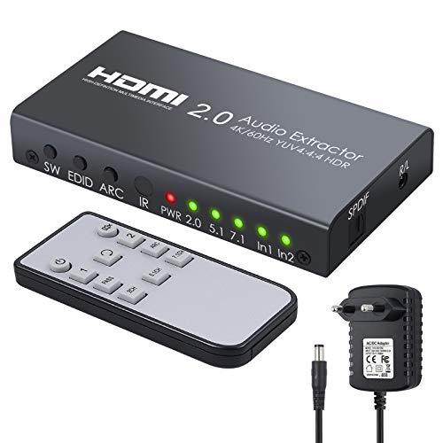 Conmutador HDMI 2.0 con Extractor de Audio Convertidor HDMI 2 Entradas HDCP 2.2 4K@60Hz YUV 4:4:4 y HDR Selector de Video y Audio con Mando para Blu-ray Xbox One X PS4 Pro Portatil Proyector HDTV
