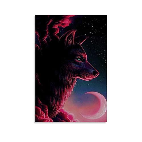 Poster Wolf und Mond, Rot, ästhetische Raumdekoration, Leinwanddruck, Gemälde, Kunstwerk, 60 x 90 cm