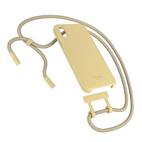 Woodcessories - Nachhaltige Handykette abnehmbar kompatibel mit iPhone XS Hülle mit Band gelb, iPhone X Hülle mit Band gelb - antibakteriell, kompostierbar