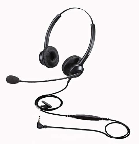 2,5mm Telefon Headset mit Noise Cancelling Mikrofon, Dual Festnetztelefone Kopfhörer für Büro CallCenter Cisco SPA Siemens Gigaset Panasonic Grandstream Polycom DECT Schnurlostelefon