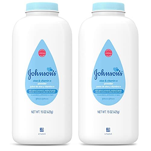 Johnson's Baby Powder, Naturally Derived Cornstarch with Aloe & Vitamin E for Delicate Skin, Hypoallergenic and Free of Parabens, Phthalates, and Dyes for Gentle Baby Skin Care, 15 oz (Pack of 2)