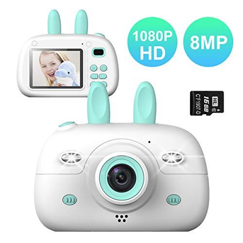 Orthland Kinderkamera Digitalkamera für Kinder 2,4 Zoll Farbdisplay 8MP 1080P HD Kinder Kamera mit 16GB SD Karte & Schlüsselband Videokamera Selfie Fotokamera Geburtstagsgeschenk, Halloween