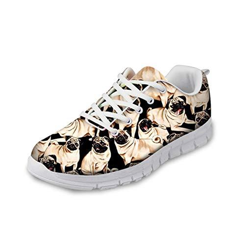 HUGS IDEA Modische Schuhe, mit Totenkopf-Motiv, Mops, Blumen, lustig, leicht, Schaumstoff, für Sport, Laufen, Fitness, Joggen, Schwarz - Mops 2 - Größe: 39 EU