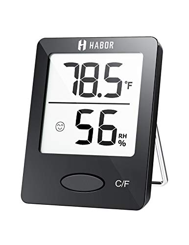 Habor Room Thermometer, [Mini Style] Humidity Meter, Hygrometer Thermometer with Clear LCD Display and Face Icons, Monitor Temperature and Humidity for Home Office Nursery, Black, 1 Unit