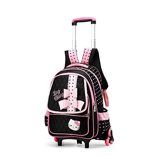 ZXHFDC 18 Inch Child Nylon Rolling Backpack, Travel Wheeled Laptop Backpack For Women, Carry On Trolley Luggage Suitcase Business Bag, Fit 15.6 Inch Laptop(Color: Pink 2 Rounds, Pink 6 Rounds, Black