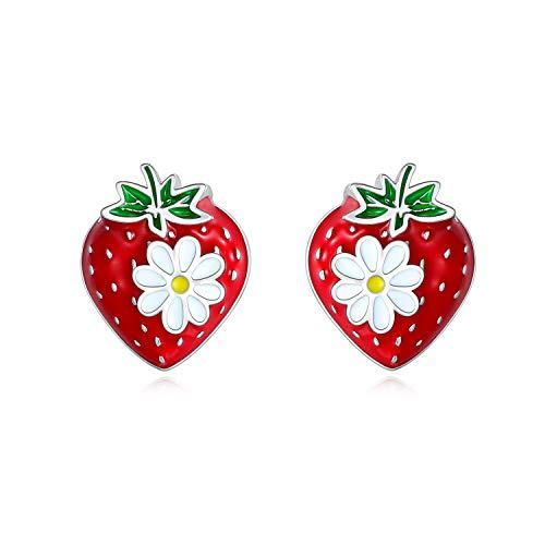 Orecchini a perno in argento a forma di fragola, per ragazze e donne, graziosi orecchini a forma di frutta, idea regalo per ragazze