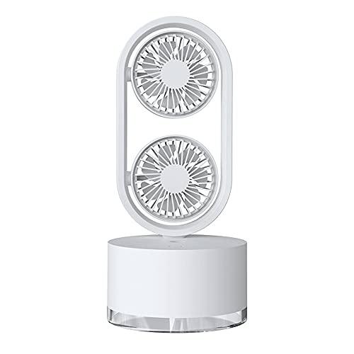 ZENING Ventilador De Escritorio Doble Silencioso Con Luz Nocturna,Ventilador De Escritorio Ajustable De Tres Velocidades USB,Puede Añadir Agua De 400 Ml