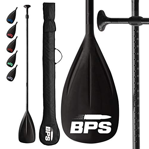 BPS 2 pc Carbon Fiber Shaft SUP Paddle - Easy to Assemble Lightweight and Durable - Travel Touring Stand up Paddleboarders - Floats on Water Paddlers Friendly - Comes with a Bag (Grey Accent)