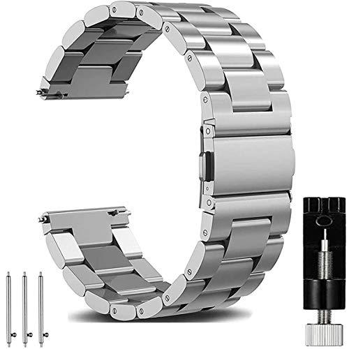 OTOPO für Galaxy Watch 46mm Armband & Gear S3 Frontier/Classic Armband Frauen Männer, 22mm Metallarmband Armband Edelstahl Uhrenarmband Ersatz für Samsung Galaxy Watch 46mm Smartwatch -Metall Silber