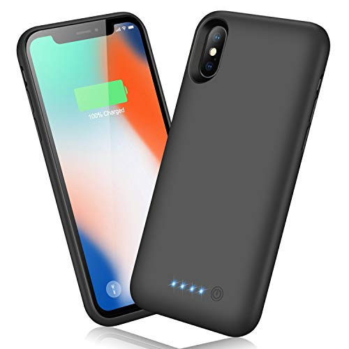 QTshine Battery Case for iPhone X/XS/10, Newest [6500mAh] Protective Portable Charging Case Rechargeable Extended Battery Pack for Apple iPhone X/XS/10(5.8') Backup Power Bank Cover - Black