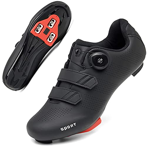 Cycling Shoes Women Men Road Bike Cleat Peloton Shoe Buckle SPD and Delta Indoor Outdoor Cycling Shoes 8Black40
