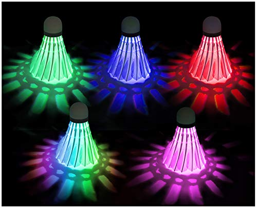 EONAZE LED Federbälle, Nachtübung Badminton Beleuchtung Badmintonbälle, Langlebig Sporttraining Badminton Bälle für Innen Draussen Sportsaktivitäten (5 Stück(Rot, Grün, Blau, Rosa, Farbig))