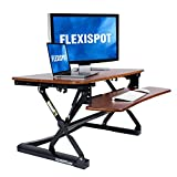 FlexiSpot M2MG Standing Desk Riser - 35' Wide Platform Height Adjustable Stand up Desk Computer Riser with Removable Keyboard Tray (Medium Size Mahogany)