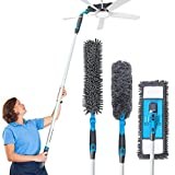 Dusting Kit- Baban Microfiber Duster with 3 Extension Pole '69-Cleaning Kit with 3 Dusting Attachments, Microfiber Mop, Flex Duster, Feather Duster for Ceiling Fan/Pianos/Floor, Detachable & Washable