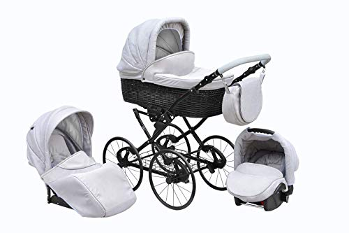 SKYLINE Klassisch Retro Stil Wicker LUX Kombi-Kinderwagen Buggy 3in1 Reise System Autositz (Isofix) (Collage Gray/17