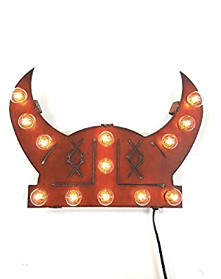 Viking Helmet lighted sign made out of rusted steel by
