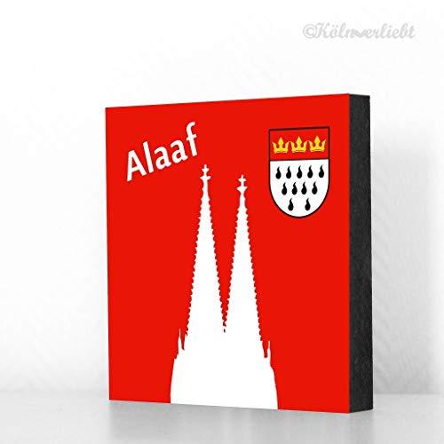 Köln Bild 10x10cm - Alaaf, Dom, Wappen (roter Hintergrund), Karneval, Tischdeko, MDF, Geschenk, Deko, Kölngeschenk, Holz, Cologne, Fasching
