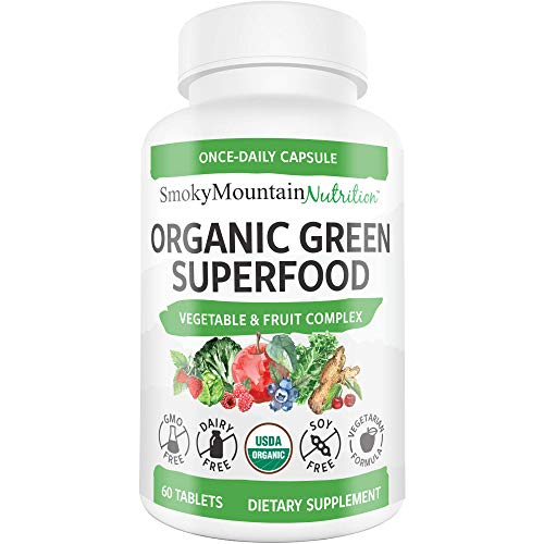 Green Superfood Supplement (60 Tablets) Organic Super Greens - 28+ Fruits & Veggies Including Alfalfa, Barley, Spinach, Broccoli - Certified Organic, Non-GMO and Soy-Free - Smoky Mountain Nutrition
