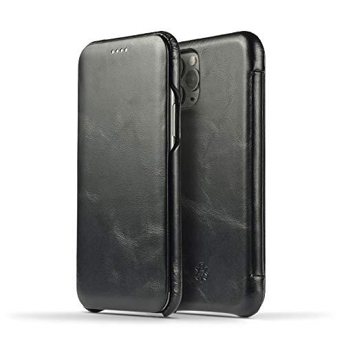 NOVADA Custodia in Vera Pelle per iPhone 11 - Ultra Sottile Folio Flip Cover - Nero