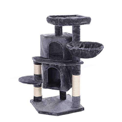 FEANDREA 39-Inch Cat Tree, Cat Tower Condo, 2 Caves, 1 Basket, Smoky Gray UPCT45G