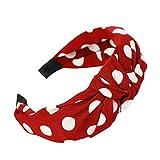 YWLINK Damen Haar Kopfband Mode-Knoten-Haarband Einfache SüßE MäDchen Einfach Polka Dot Elegant Sport Breit Haar-Stirnband(Rot,)