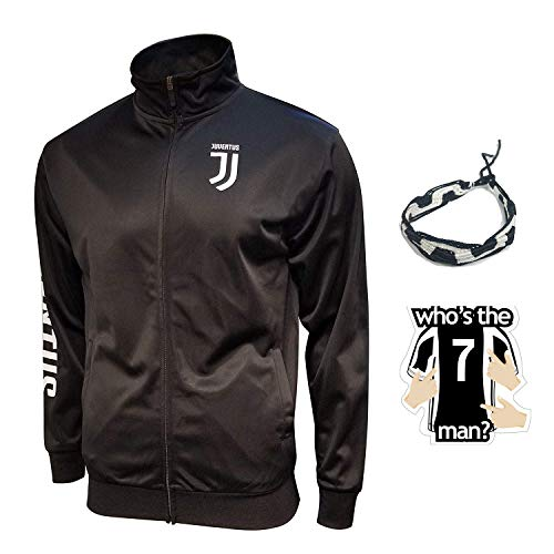 juventus jacket track for boys youth and mens adults black winter soccer new season official licensed set JV013 (M, ADULTS BLACK JACKET)