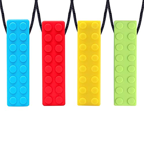 Collar Mordedor, Yuccer Paquete de 4 Collar de Lactancia Mordedor Collar Dientes Bebe Colgante Mordedor Para Autismo o ADHD Bebe (Azul + Amarillo + Verde + Rojo)